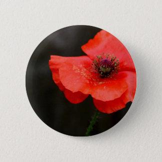 Brilliant Red Poppy 2 Inch Round Button