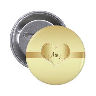 Brilliant shiny gold 2 inch round button