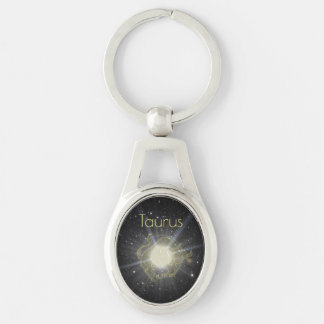 Brilliant Taurus Silver-Colored Oval Keychain