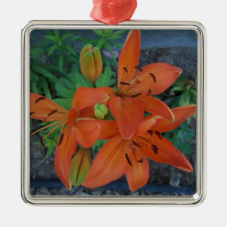 Brilliant Tiger Lily Silver-Colored Square Ornament