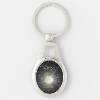 Brilliant Virgo Silver-Colored Oval Keychain