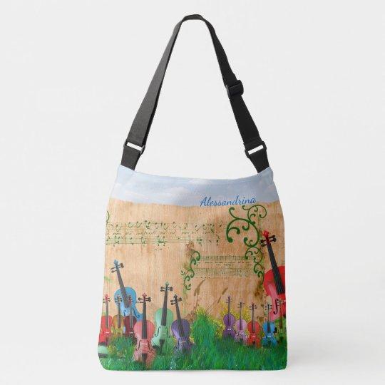 Brilliantly-Coloured Violin Garden with Name Crossbody Bag