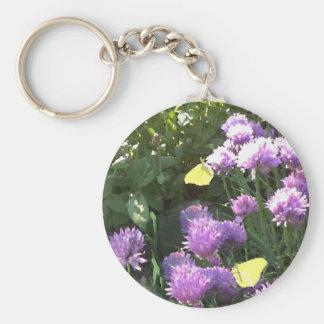 Brimstone Butterflies in the Herb Garden Basic Round Button Keychain