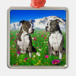 Brindle & Blue Staffordshire & Pit Bull Dogs Metal Ornament