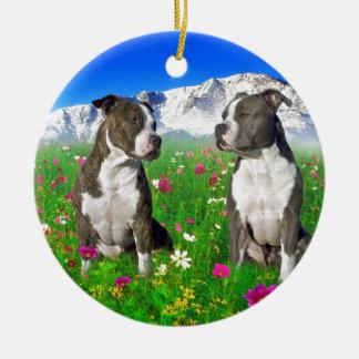 Brindle & Blue Staffordshire & Pit Bull Dogs Round Ceramic Ornament