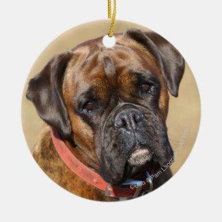 Brindle Boxer Dog Round Ceramic Ornament