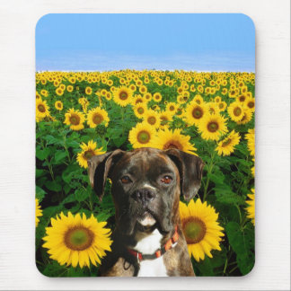 Brindle boxer in Sunflowers mousepad