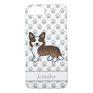 Brindle Brown Cardigan Welsh Corgi With Name iPhone 8/7 Case