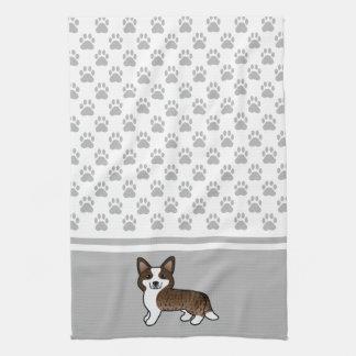 Brindle Cardigan Welsh Corgi And Dog Paws Kitchen Towel