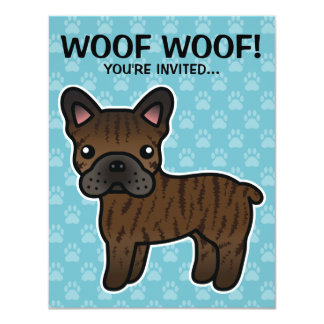 Brindle Cartoon French Bulldog Card