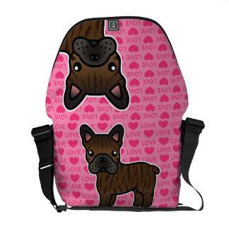 Brindle Cartoon French Bulldog Love Messenger Bag