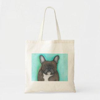 Brindle French Bulldog tote with aqua