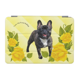 Brindle French Bulldog with Yellow Roses iPad Mini Cover