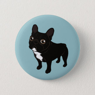 Brindle Frenchie likes to go for a walk 2 Inch Round Button