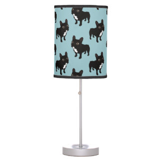 Brindle Frenchie likes to go for a walk Table Lamp