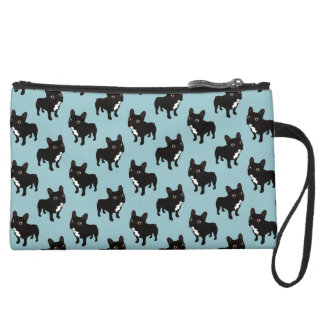 Brindle Frenchie likes to go for a walk Wristlet Purses