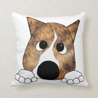 brindle peeking basenji throw pillow