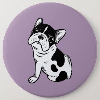 Brindle Pied Frenchie Puppy 6 Inch Round Button