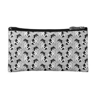 Brindle Pied Frenchie Puppy Makeup Bags