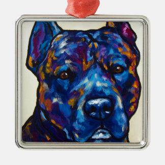 Brindle Pit Bull Cody Silver-Colored Square Ornament