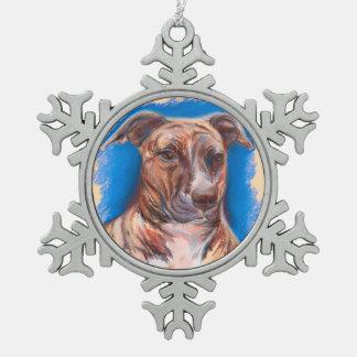 Brindle Pit Bull Dog Pewter Snowflake Ornament