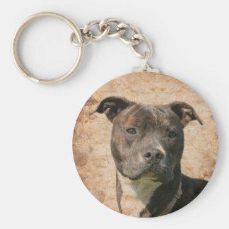 Brindle pitbull face keychain