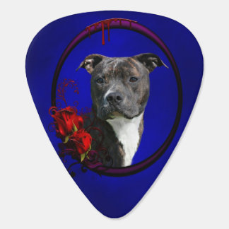 Brindle pitbull with roses guitar pick