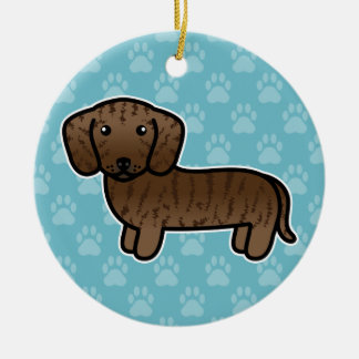 Brindle Smooth Coat Dachshund Cartoon Dog Ceramic Ornament