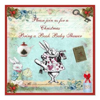 Bring a Book Alice in Wonderland Xmas Baby Shower Card