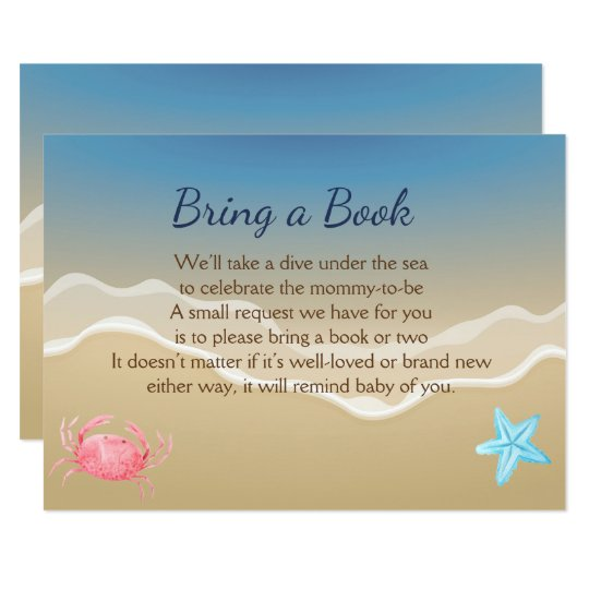 Bring a Book Baby Shower Card- Beach Theme Card