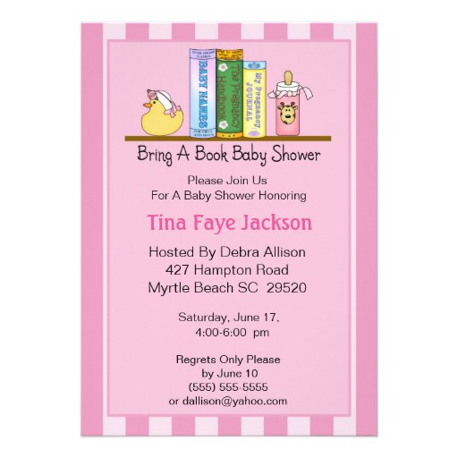 Bring a Book Baby Shower Invitation (Girl)