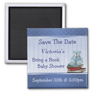 Bring a Book Blue Teddy Baby Shower Save the Date Magnet