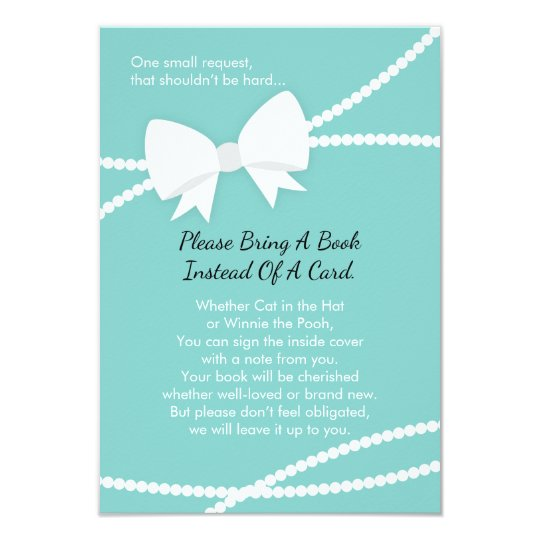Bring A Book Card, Baby Shower, Tiffany Blue Card