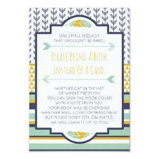 Bring A Book Card, Tribal, Aztec, Baby Shower Card