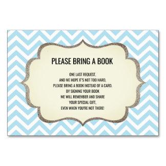 Bring a Book - Chevron Blue BOY Baby Shower Cards