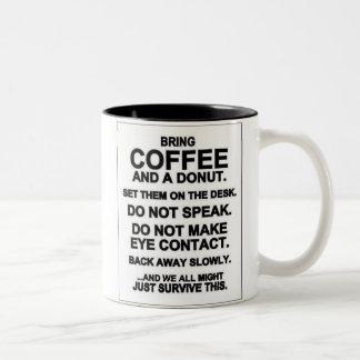 Bring Coffee and Donut Two-Tone Coffee Mug