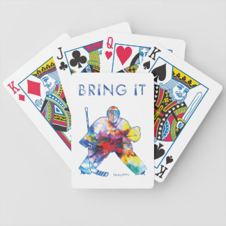 Bring It Hockey Goalie Watercolor Bicycle Playing Cards