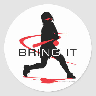 Bring it Red Batter Softball Classic Round Sticker