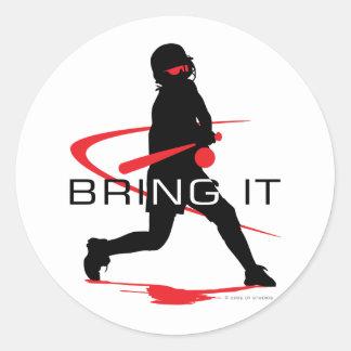 Bring it Red Batter Softball Round Sticker