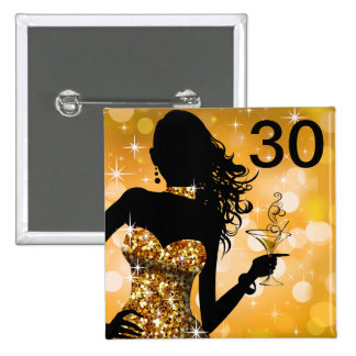 Bring the Bling Sparkle 30th Birthday | gold 2 Inch Square Button