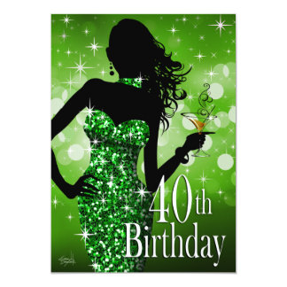 Bring the Bling Sparkle 40th Birthday | green Card