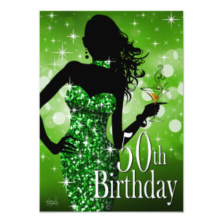 Bring the Bling Sparkle 50th Birthday | green Card