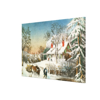 Bringing Home the Logs, Winter Landscape Gallery Wrapped Canvas