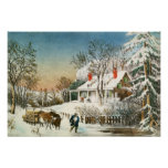 Bringing Home the Logs, Winter Landscape Poster
