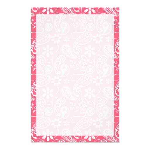 Brink Pink Paisley; Floral Customized Stationery