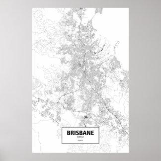 Brisbane, Australia (black on white) Poster