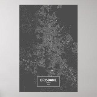 Brisbane, Australia (white on black) Poster