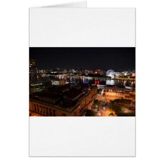 BRISBANE CITY AT NIGHT QUEENSLAND AUSTRALIA CARD
