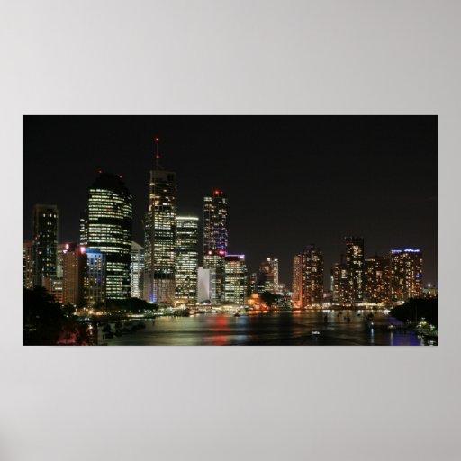 Brisbane City by Night - Poster