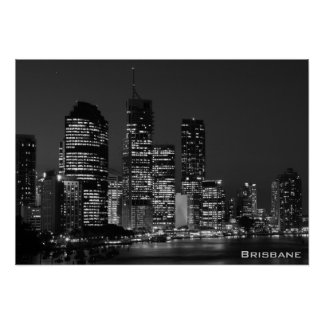 Brisbane City, Night - Black and White Poster